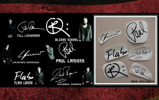 Rammstein autographs decal guitar