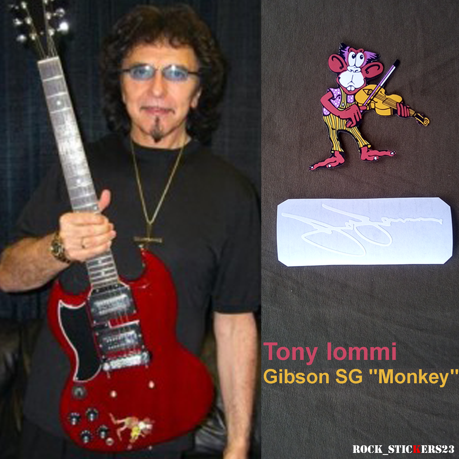 tony iommi autograph monkey stickers