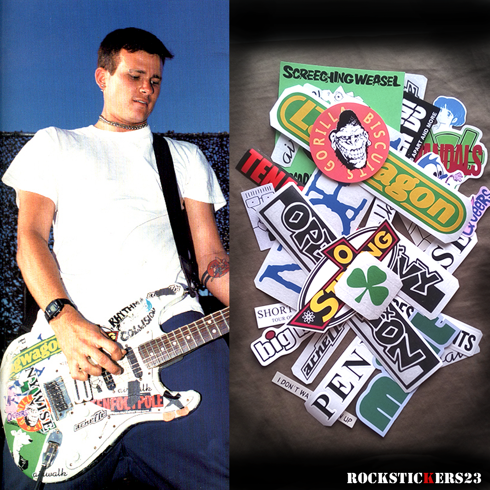 Tom Delonge Stickers Guitar Fender Strat Decal Replica