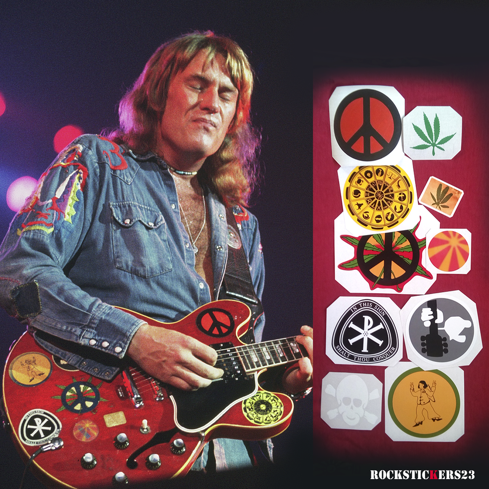 Alvin lee guitar stickers replica ten years after gibson big red es 335 custom decal saguitar set 10