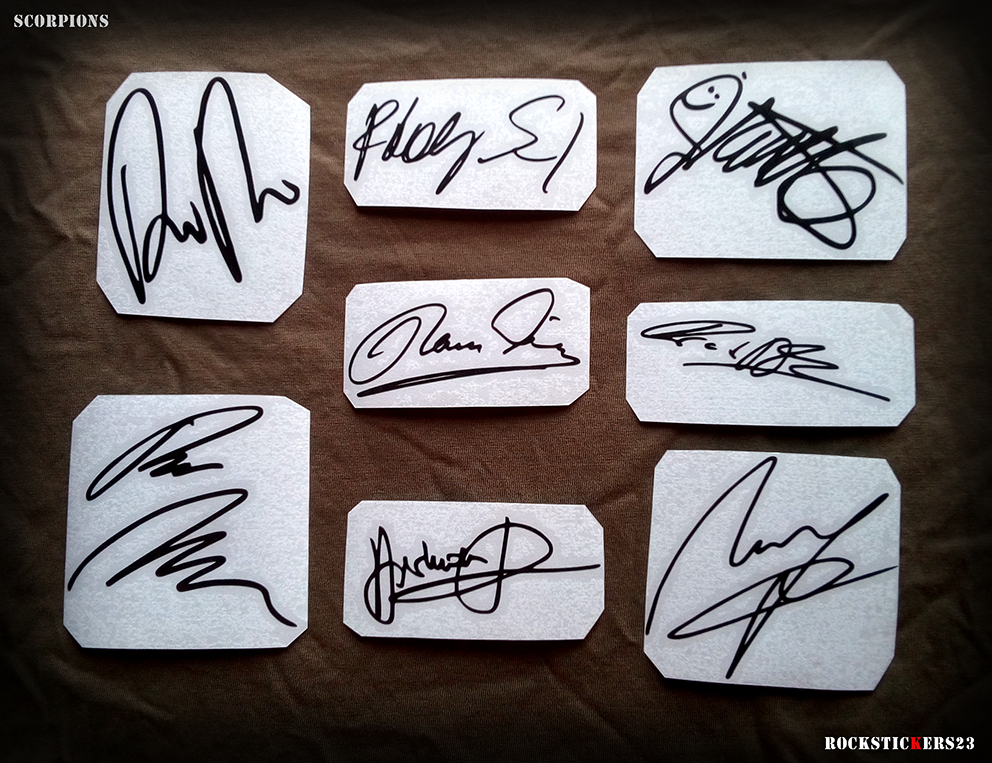 autograph stickers guitar