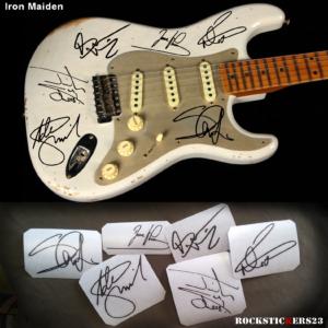Iron Maiden stickers guitar autograph